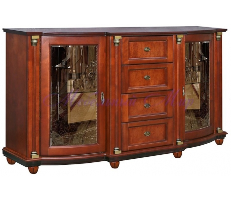 Деревянный комод Валенсия со стеклом 4 ящика и 2 дверки