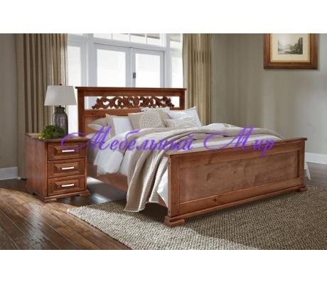 Кровать с ящиками для хранения Лира с резьбой