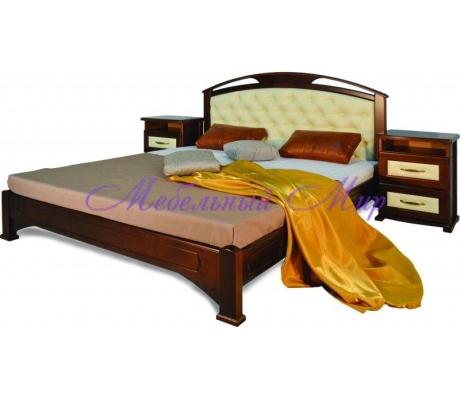 Кровать из массива сосны Омега сетка со вставкой