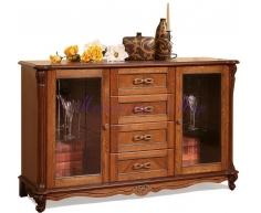 Деревянный комод Алези со стеклом 4 ящика 2 дверки
