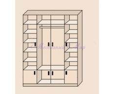 Купить распашной шкаф 4 створчатый Фиджи с антресолями внизу